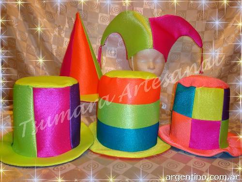 Gorros Sombreros Cotillón Tela Bondeada Fluo Carioca Eventos en ... b907f547d36