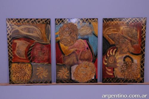 Cuadros tripticos abstractos florales etnicos ars car for Cuadros tripticos abstractos