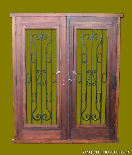Fotos de puerta doble hoja de frente en madera de cedro en - Puertas de aluminio doble hoja ...
