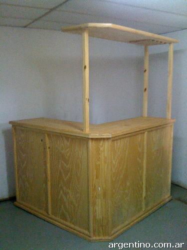 Barra bar tipo l de pino laqueado 150x150x210 en posadas for Bar de madera de pino