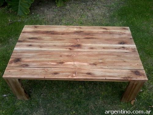 Mesa ratona r stica de madera reciclada en la plata tel fono - Mesa madera reciclada ...