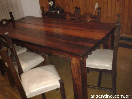 Mesa de tirantes macizos 8 sillas especial para quincho for Sillas para quincho