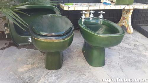 Juego de sanitarios verde inodoro bidet lavatorio en for Inodoro verde