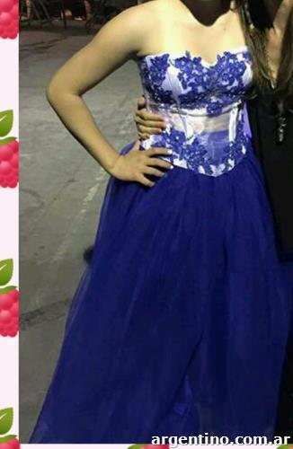 Vestidos de 15 azul con blanco